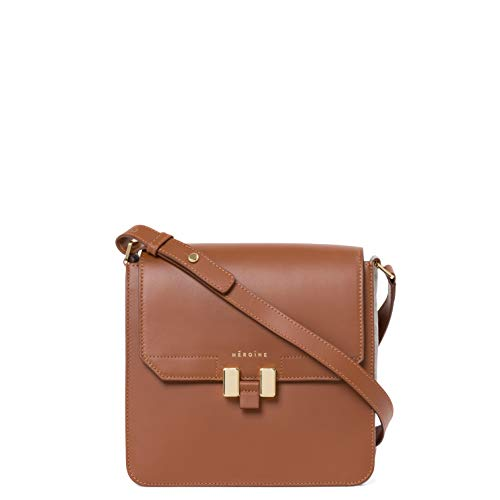 Maison Héroïne Tilda Tablet Mini | Crossbody Tasche | Handtasche | Damen | Cognac/Hellgrau | Umhängetasche | Leder | Schultertasche | Gepolstertes Tablet Mini Fach