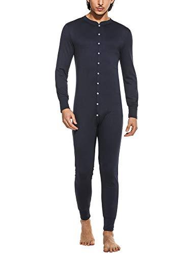 MAXMODA Combinaison Hommes Une pièce Pyjama avec Poches Combinaison Tout en Un Jumpsuit