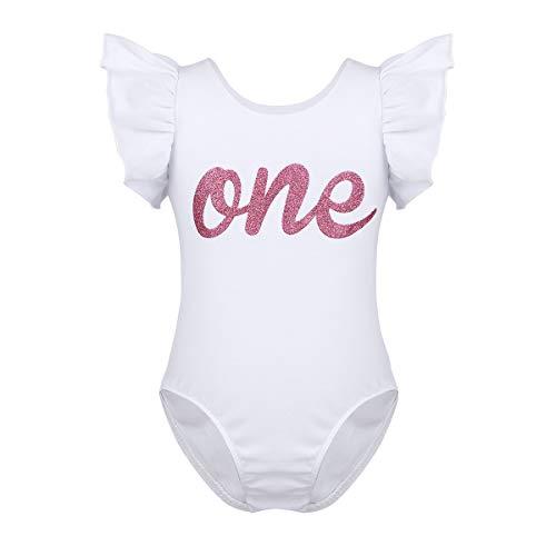 dPois Baby Mädchen Strampler Body Baumwolle Kleinkind Spielanzug Schlafanzug Säugling Bodysuit Jumpsuit Overall 1. Geburtstag Geschenk 68 80 86 Weiß Weiß 80-86/12-18 Monate