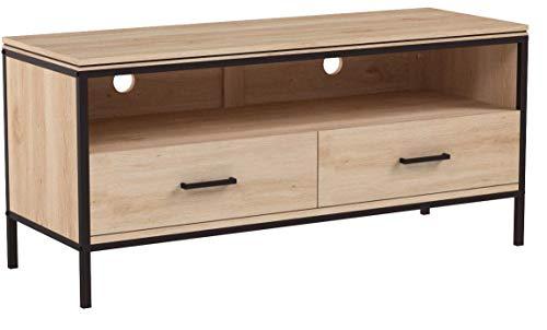 Sekey Home TV Ständer  TV Tisch  Fernsehtisch  TV-Schrank mit Metallgestell  Lowboard mit Schubladen, Holzoptik, Lintel Oak