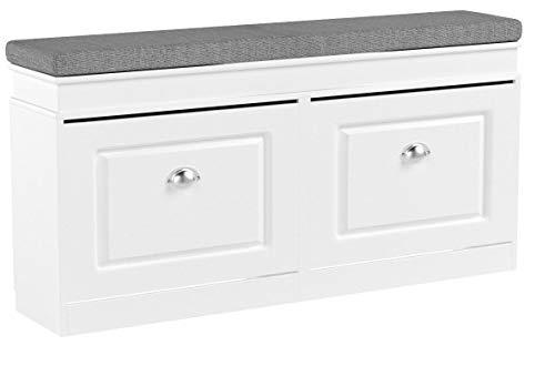 SoBuy FSR64-W Schuhkipper Sitzkommode Sitzbank mit Sitzkissen Schuhbank mit 2 Klappen Weiß BHT ca.: 104x52x24cm