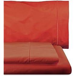 Home Royal - Juego de sábanas compuesto por encimera, 220 x 285 cm, bajera ajustable, 135 x 200 cm, funda para almohada, 45 x 155 cm, color rojo