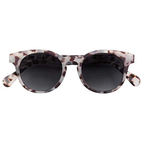 Babsee Bifokale Sonnenbrille Modell Piet Grau gesprenkelt +2.0 | Es ist fast keine Linie sichtbar Bifokale Sonnenbrille mit UV-Schutz Braun mattiert | Flexible Scharnierlinsenbreite