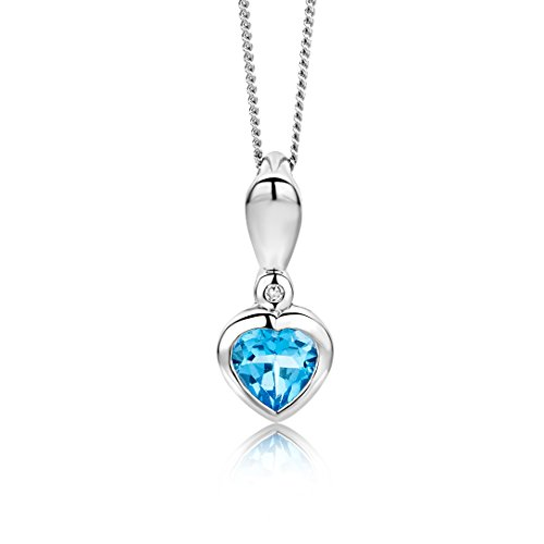 Miore Kette - Halskette Damen Weißgold 9 Karat / 375 Gold Kette mit Herz  Blauer Topas mit Diamant Brilliant 45 cm - Ring, Charms Halskette, Geburtsstein