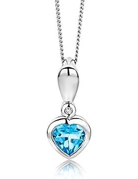 Miore Damen-Halskette Herz 375 Weißgold 1 Topas blau 1 Brillant 0.5ct farblos 45 cm