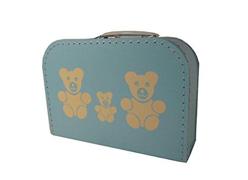 Pappkoffer hellblau mit Teddys 25 cm