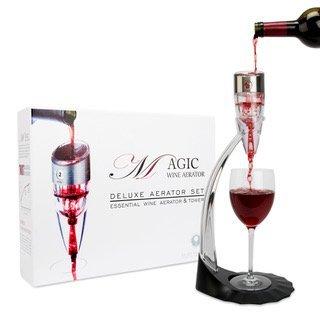 Wine Belüftungsgerät Airby® [3-stufige Belüftung] 0-6 Geschwindigkeit Einstellbar Weinbelüfter Weindekanter Dekanter Diffusor Ausgießer [Executive Box] Effizient keine Lecks mit Stand & BONUS Reisetasche für Red White Wine Whisky
