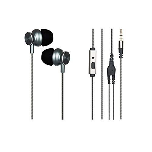 WeCool Metal in-Ear Booming Bass Wired Earphone (W002) with Inline Mic and MFB Controller for Mobile Phones, Laptop and Computers (Grey)