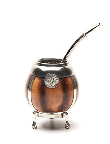 BALIBETOV [Mate Argentino] Set per Mate di zucca fatto a mano - cornice e base in argento tedesco - (Tazza Mate) con Bombilla (Yerba Mate Straw) (NATURALE).