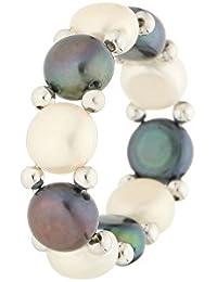 3f157cc06664 Mes-bijoux.fr Bague Elastique Princesse 1 Perles de Culture Blanches et  Noires