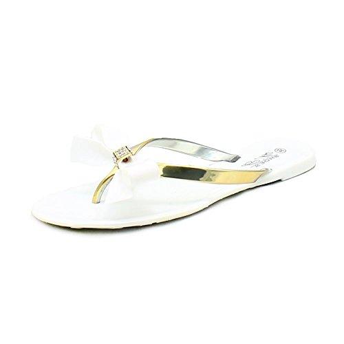 Signore gelatina Sandali / Flip Flops con l'arco diamante White