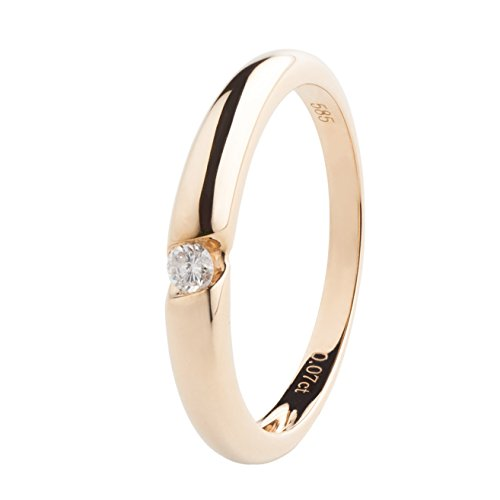 Ardeo Aurum Damenring aus 585 Gold Gelbgold mit 0,07 ct Diamant Brillant Verlobungsring Solitär-Ring