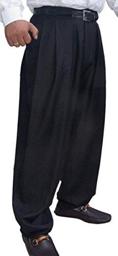 Preisvergleich Produktbild Il Padrino Moda Luxus Bundfalten Hose Schwarz, Hosengrösse:48