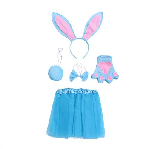 Amosfun 5-teiliges Kinder-Kostüm Cartoon-Tier-Kostüm mit Hasenohren und Fliege, Schwanz-Handschuhe, Mullrock, Kostüm-Set für Kinder, Cosplay, - Hase 5 Teilig Kostüm