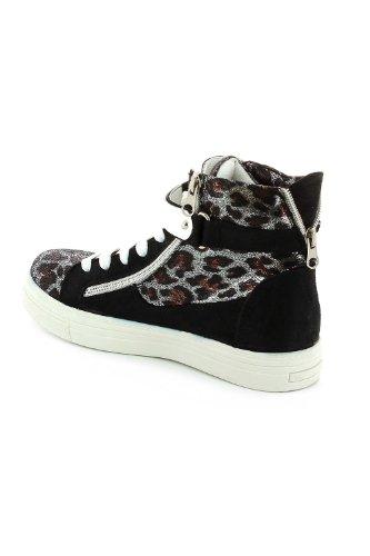 Baskets en velours scintillante esprit léopard Noir