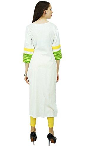 Phagun Designer Bollywood Kurta Ethnische Kunstseide Kurti zufällige Spitze Tunikakleid Aus Weiß und Grün