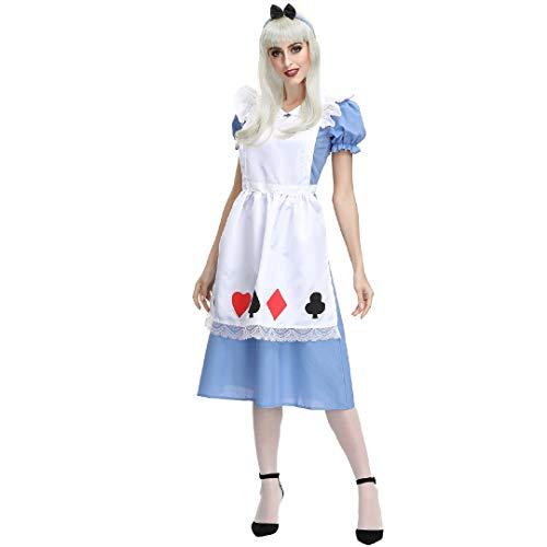 Sfit Damen Halloween Faschingskostüm Maid Kleid Blauen Cosplay Erwachsene Prinzessin Belle Kostüm Party Outfit Feicua Kostüm Dienstmädchen Karneval Kellnerin Lolita Kleider