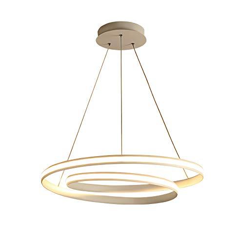 LED Pendelleuchte Dimmbar Weiß Modern Hängleuchte Rund Deckenbeleuchtung Ringe Wohnzimmer Kronleuchter Designleuchte Höhenverstellbar Schlafzimmer Esszimmer Küche 50W 3000-6000K Ø45*H13cm