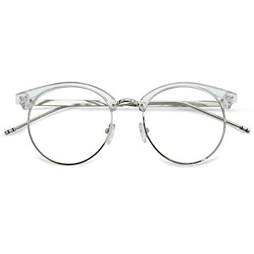 KOOSUFA 50er Jahre Retro Brille ohne Sehstärke Damen Herren Rund Nerd Brille Brillengestelle Metallrahmen Deko Brille Vintage Brillenfassung mit Etui (Durchsichtig)