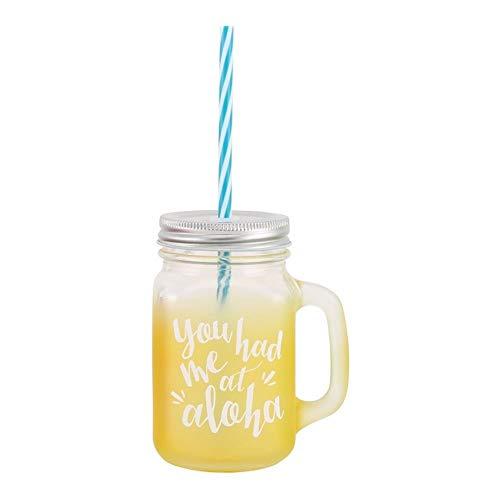 CGB Giftware Aloha Bocal de boire en verre avec poignée et paille 'vous secouer' Jaune