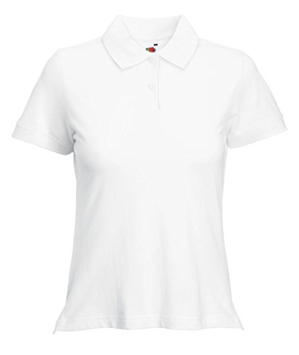 Fruit of the Loom Damen Poloshirt Polo Lady-Fit White