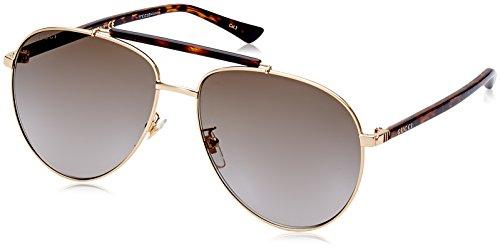 Gucci Unisex-Erwachsene GG0014S-002 Sonnenbrille, Braun (Havana/Dorado), 60