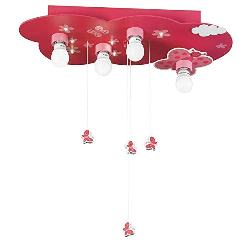 Plafonnier enfant Led mobile FANTASIA rose en bois
