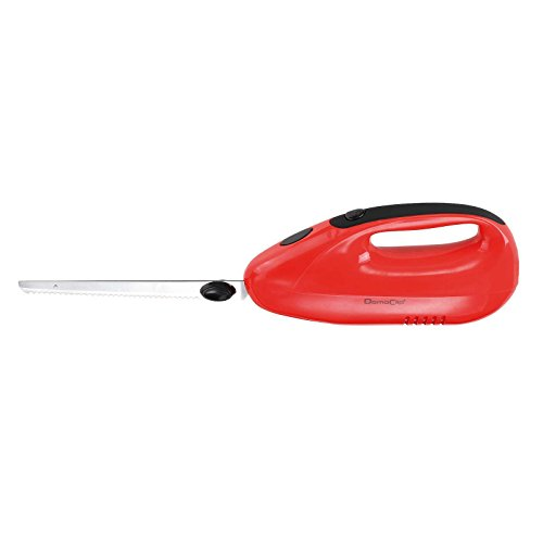Elektromesser Küche Elektrisches Messer für Fleisch Küchenmesser Elektrisch für Tiefkühlgut (Doppelklinge Edelstahl, Wellenschliff, Brotmesser, 150 Watt, Rot) (Elektrisches Küchenmesser)