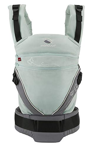 manduca Babytrage XT > Limited Edition/Butterfly Mint < Ergonomische Baby und Kindertrage, verstellbarer Steg, mitwachsend für Neugeborene ab 3,5kg und Kleinkinder bis 20kg, Bio-Baumwolle (mint/grau)