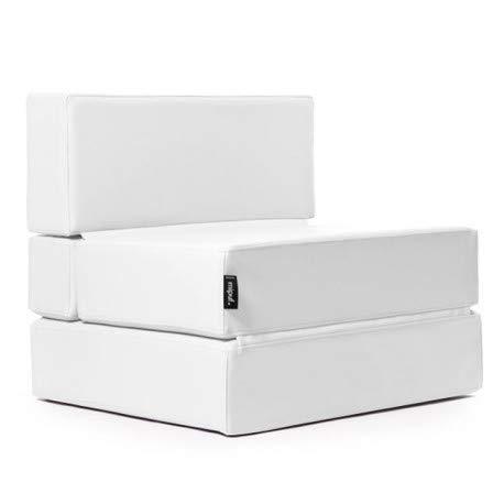 MiPuf - Sofá Puf Cama Plegable - 190x80x20 cm - Tejido para Exterior ignifugo - Doble Costura - Interior Foam Alta Densidad - Nautico Blanco - 4 años de Garantía