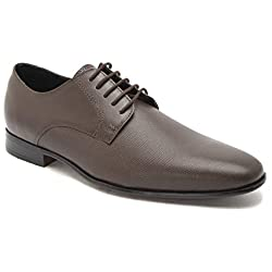 HATS OFF ACCESSORIES Men's Brown Leather Formal Shoes