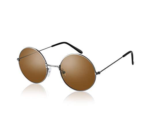 Komonee John Lennon Stil Braun Linse Runden Sonnenbrille UV400 Schutz