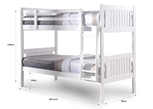 Humza Amani Glory White 3FT Single Wooden Bunk Bed (With Memory Coil Spring Mattress)