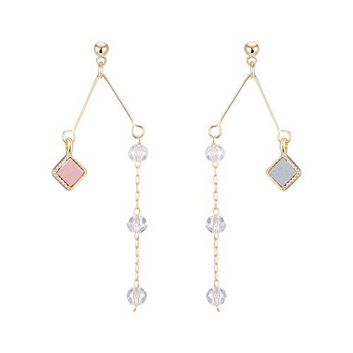 Gesicht dünne Ohrringe weibliche linke und rechte Ohr Glas Perlen Ohr Anhänger koreanischen hundert-Set Pu-förmigen Diamant geometrische Ohr Nagel Ohr Clip E467