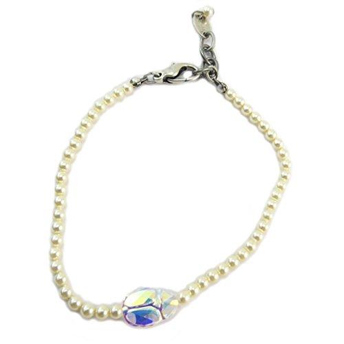 Lily-Crystal [P6672] - Handgefertigtes armband 'Tsarine' elfenbeinweiß borealen silber (skarabäus)- 3 mm, 11x8 mm. - Lily, Die Elf-prinzessin