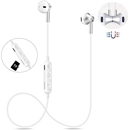 Bluetooth Kopfhörer Kabellos V4.2 in-Ear HiFi Magetisch Wireless Headset mit TF-Karte Slot, IPX4 Wasserdicht Sport Drahtlose Ohrhörer Kompatibel iPhone iPad Samsung Android Bluetooth-Geräte(Weiß) - Hi-fi Bluetooth-kopfhörer