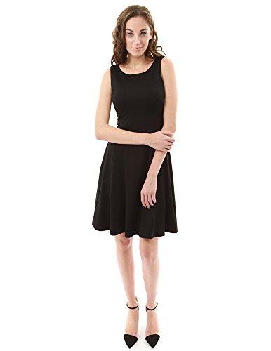 PattyBoutik femmes crewneck robe sans manches en forme et érythème Noir