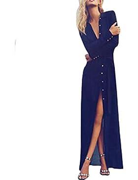 Vestidos de costura de cuello profundo V Europa y el vestido de noche de Estados Unidos
