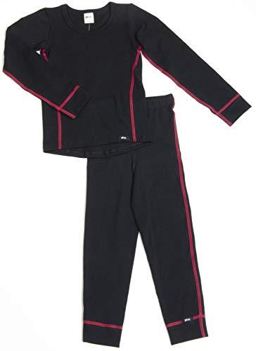 PLEAS Thermo Unterwäsche Set für Kinder - Mädchen Thermo Funktionswäsche Skiunterwäsche Set (Hemd + Hose), Schwarz, 176