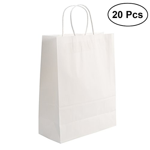 sche, Kraft Papier Taschen mit Griff Weihnachten Shopping Favor Bag, 20 Stück, weiß (Papier-geschenk-taschen Mit Griffen)