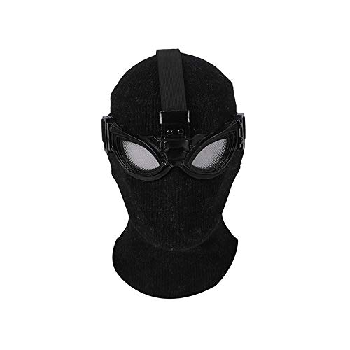 Maske Spiderman Kostüm Neues - JIAENY Halloween-Maske,Neue Halloween Maske Masken Hochwertige Spiderman Peter Parker Kostüm Stealth Halloween Masken Erwachsene Männer Abnehmbare Brille,Black