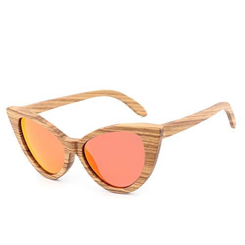 Handu yifu Polarisierte Sonnenbrille Für Herren Und Damen, Klassische Holzbeschichtete Sonnenbrille Mit Bambuskohle-Rahmen, Retro-Brille Mit Katzenkopf, Schwimmende Sonnenbrille Und Bambusbox,C