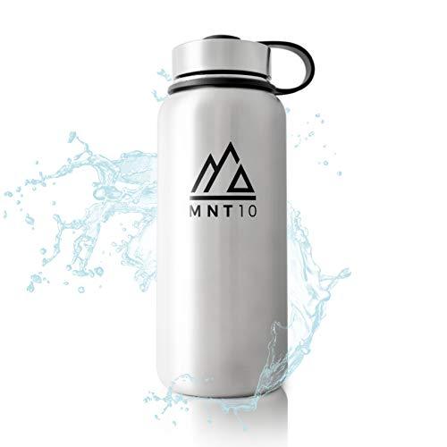MNT10 Edelstahl Trinkflasche 1L I Premium Isolierflasche + Gratis Sportdeckel I Thermoflasche für Wandern, Büro, Sport, Fitness, Fahrrad, Schule, Outdoor (Stainless Steel)