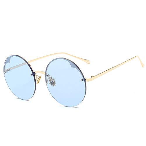 LXXSSRA Sonnenbrillen Mode Unisex Vintage Runde Sonnenbrille Frauen Männer Steampunk Randlose Brille Schwarz Rot Sonnenbrille Uv400 Gold Orange