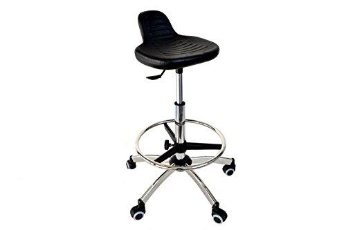 Sgabello regolabile cromato con sedile in pulioretano - pompa a gas -anello regolabile -ruote gommate +kit piedini