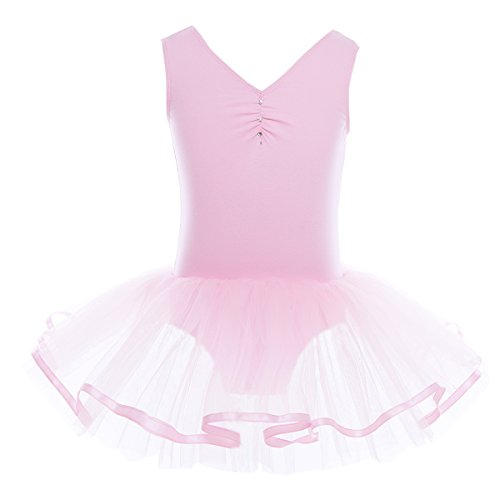 YiZYiF Mädchen Ballettanzug Ballettkleid Ballett Trikot Turnanzug Mädchen Kleider 98 104 110 116 122 128 140 152 164 (110-116, V-Ausschnitt ( Rosa)) (Mädchen Rosa Tutu Kostüme)