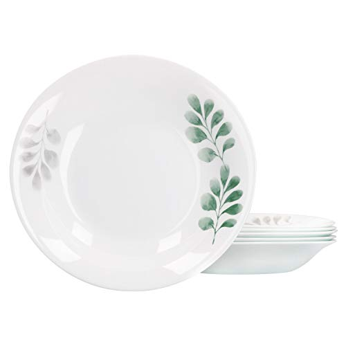 enteller-Set White Moon Green: Tiefe Servier-Teller 600 ml hochwertige Glas-Keramik florales Motiv Servier-Schale Ø23cm ()