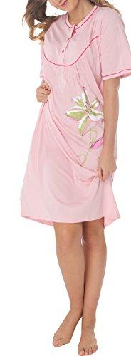 Camicia da notte da donna a manica lunga, con bottoni, in cotone Rosa