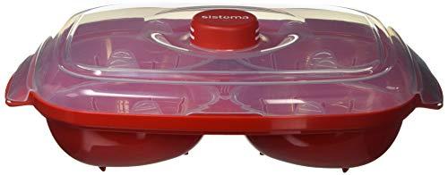 Sistema Apta para microondas escalfador de Huevos (para 4Huevos, Rojo/Transparente