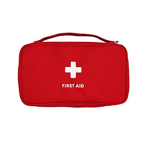 Pudincoco Outdoor First Aid Kit Borsa Emergency Kit medico Borsa di sopravvivenza Borsa da viaggio Medicina Storage Bag Piccolo organizer con maniglia (rosso)